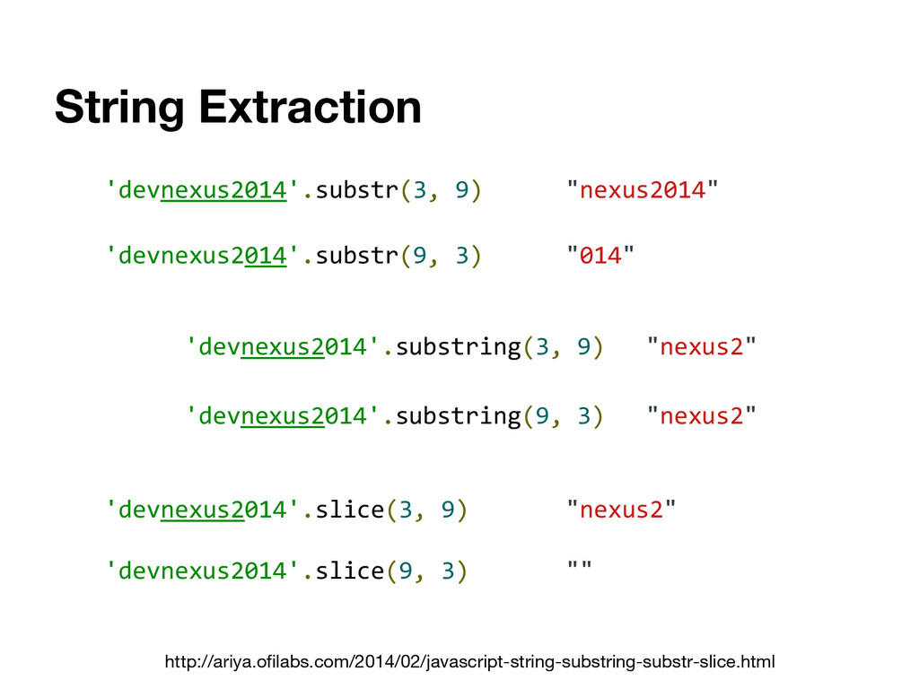 "String Extraction 'devnexus2014'.substr(3, 9) ""..."