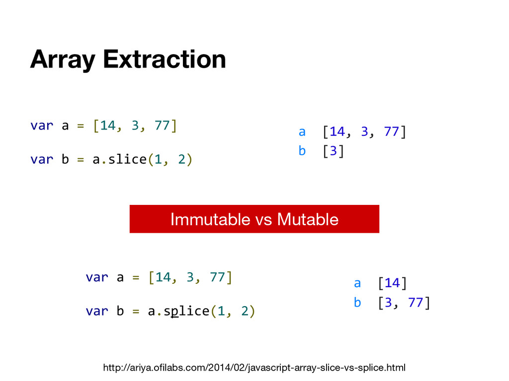 Array Extraction var a = [14, 3, 77] var b = a....