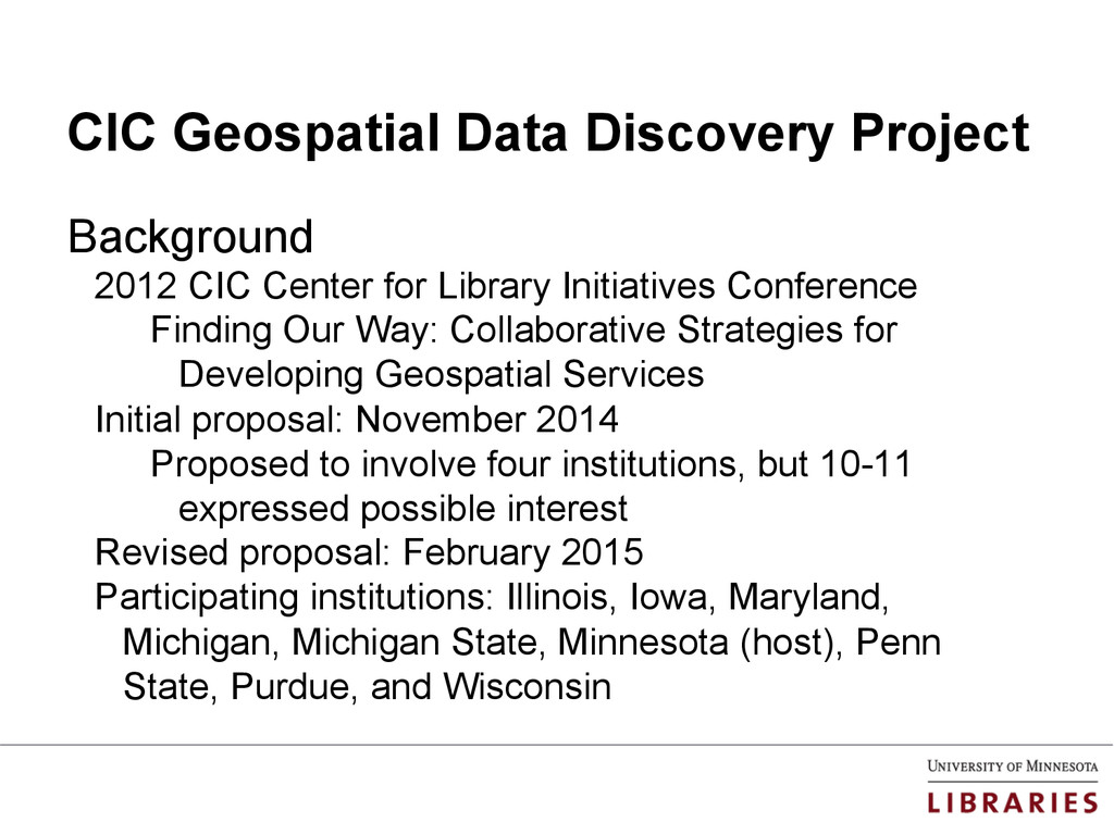 CIC Geospatial Data Discovery Project Backgroun...