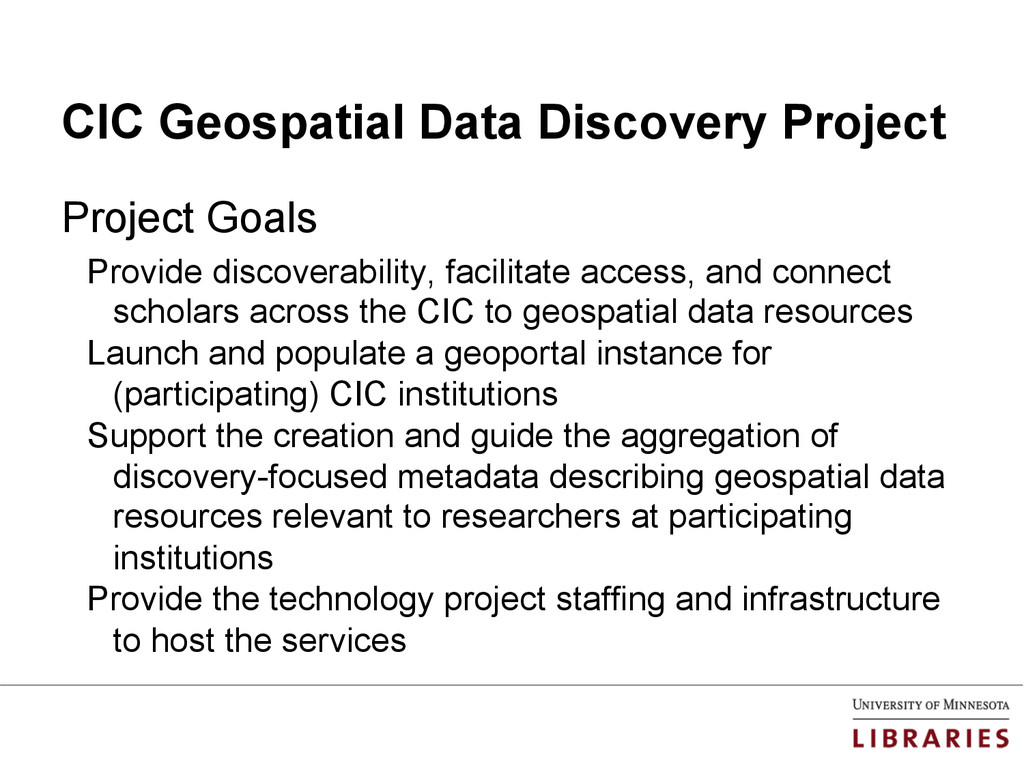 CIC Geospatial Data Discovery Project Project G...