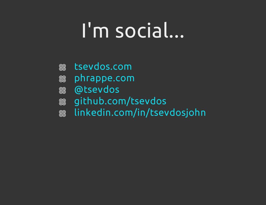 I'm social... tsevdos.com phrappe.com @tsevdos ...