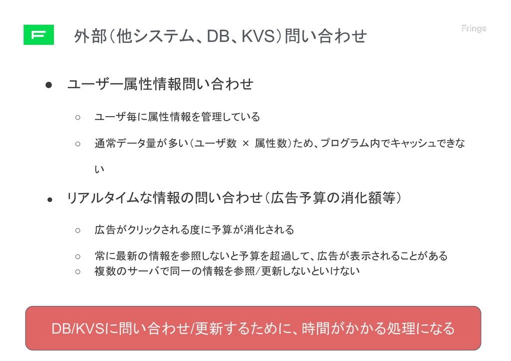外部(他システム、DB、KVS)問い合わせ © 2019 Fringe81 Co.,Ltd. ...