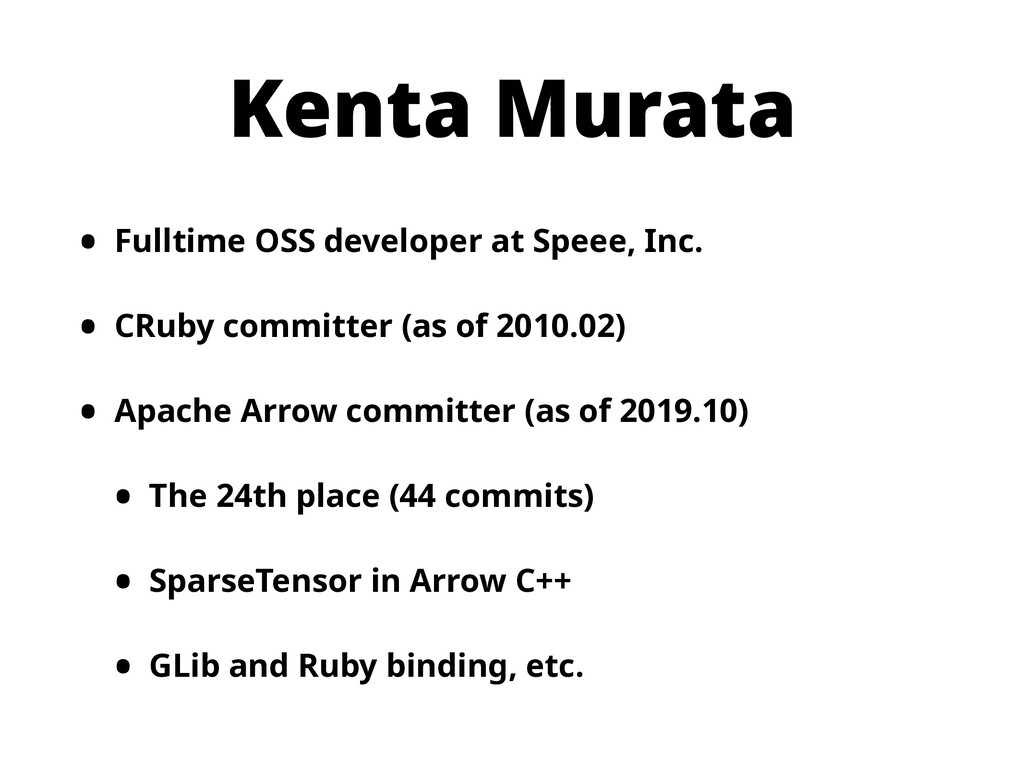 Kenta Murata • Fulltime OSS developer at Speee,...