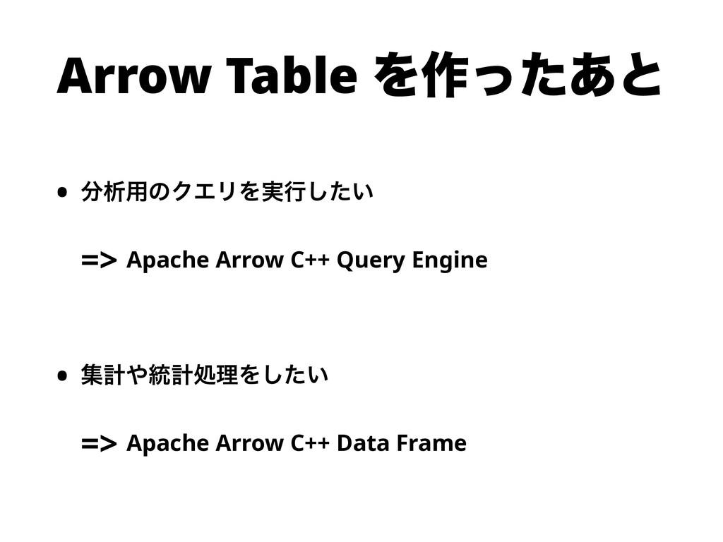 Arrow Table Λ࡞ͬͨ͋ͱ • ੳ༻ͷΫΤϦΛ࣮ߦ͍ͨ͠ => Apache Ar...