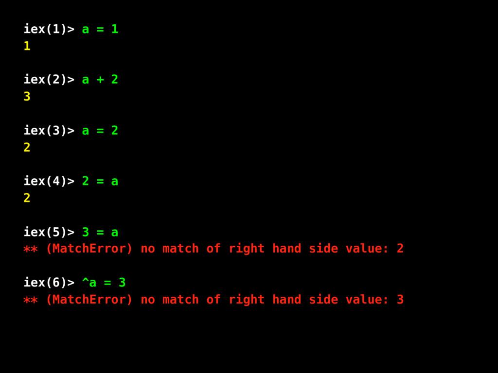 iex(1)> a = 1 1 iex(2)> a + 2 3 iex(3)> a = 2 2...