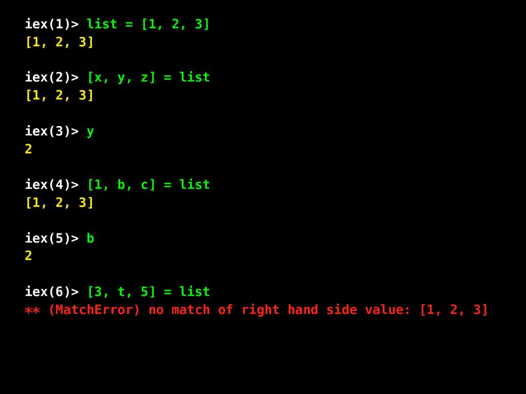 iex(1)> list = [1, 2, 3] [1, 2, 3] iex(2)> [x, ...