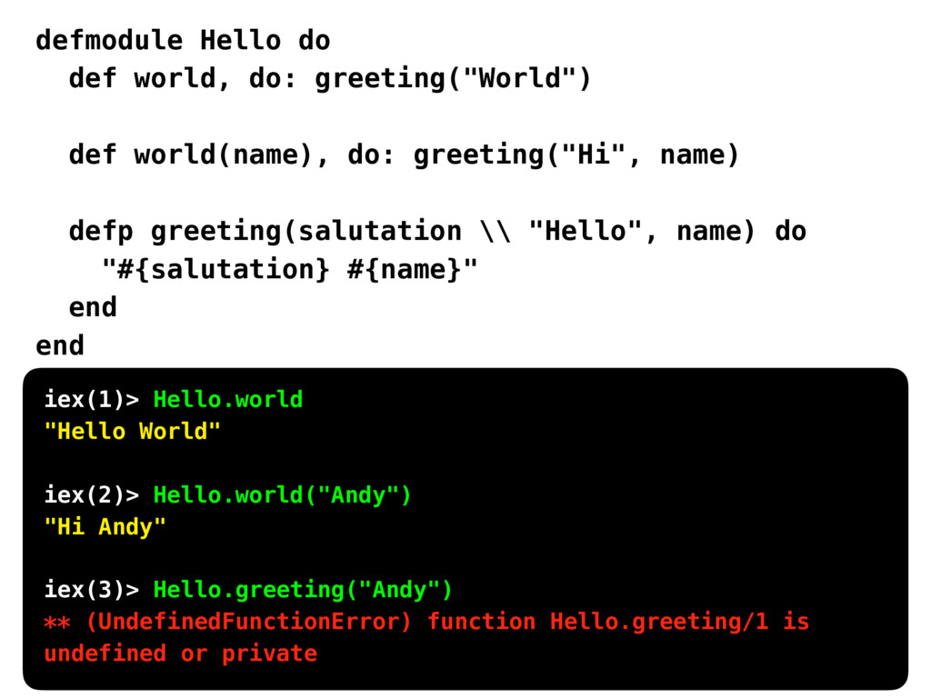 "defmodule Hello do def world, do: greeting(""Wor..."