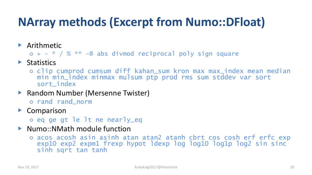 NArray methods (Excerpt from Numo::DFloat) ▶ Ar...