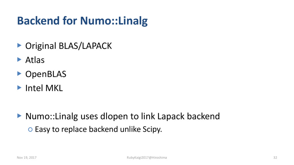 Backend for Numo::Linalg ▶ Original BLAS/LAPACK...