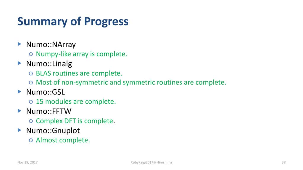 Summary of Progress ▶ Numo::NArray ○ Numpy-like...