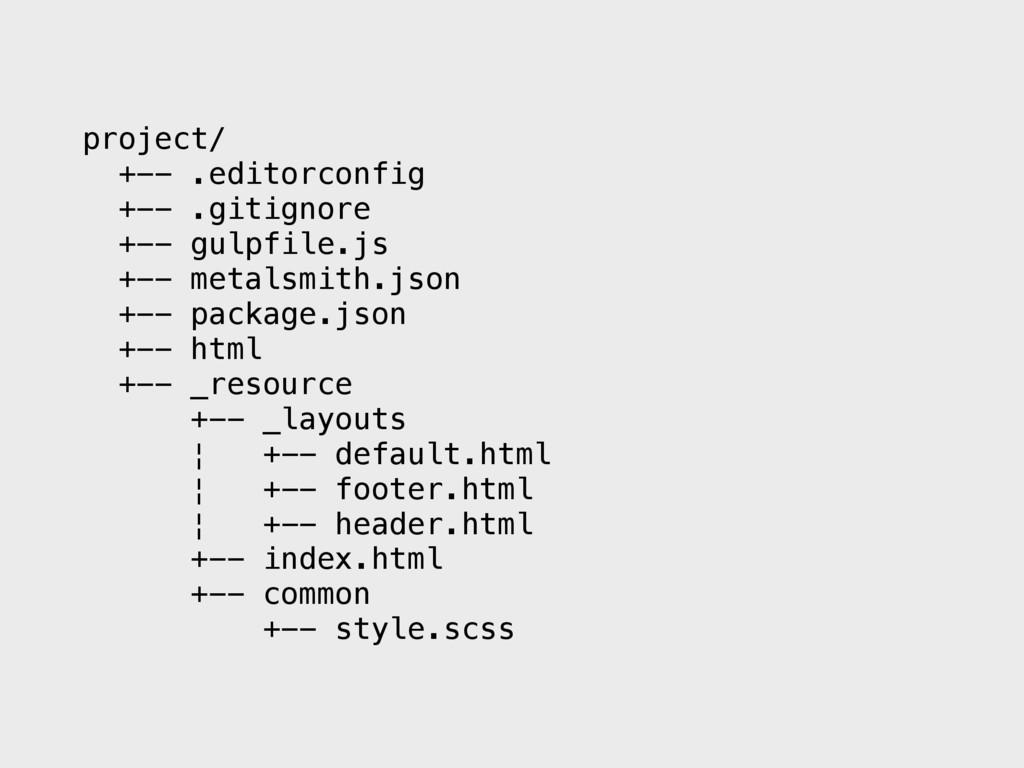 project/ +-- .editorconfig +-- .gitignore +-- g...