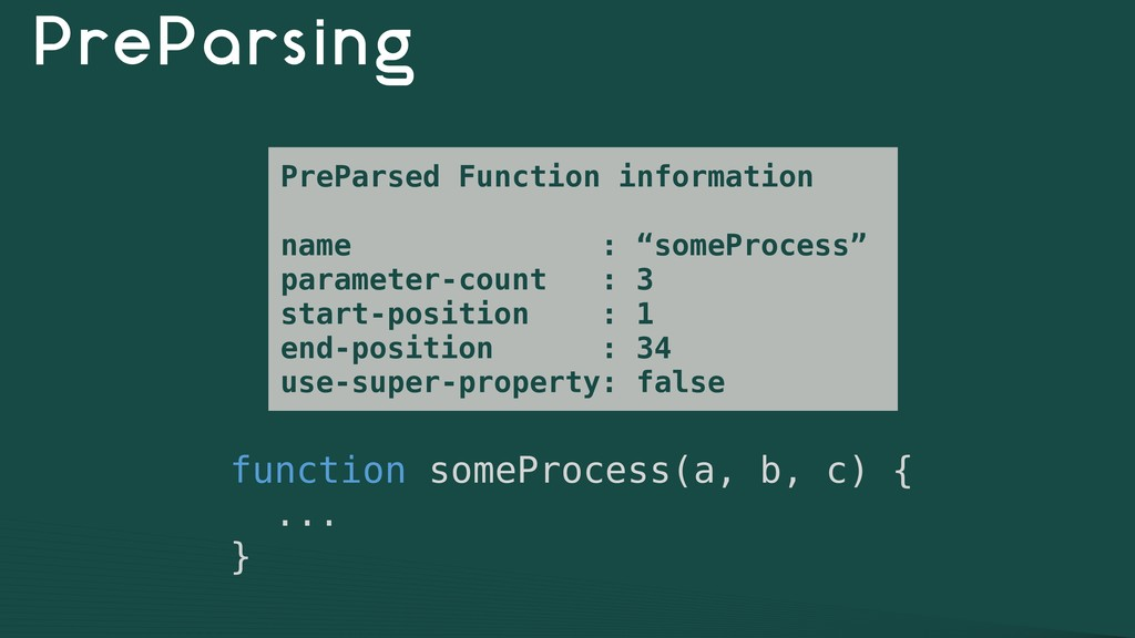 PreParsing function someProcess(a, b, c) { ... ...