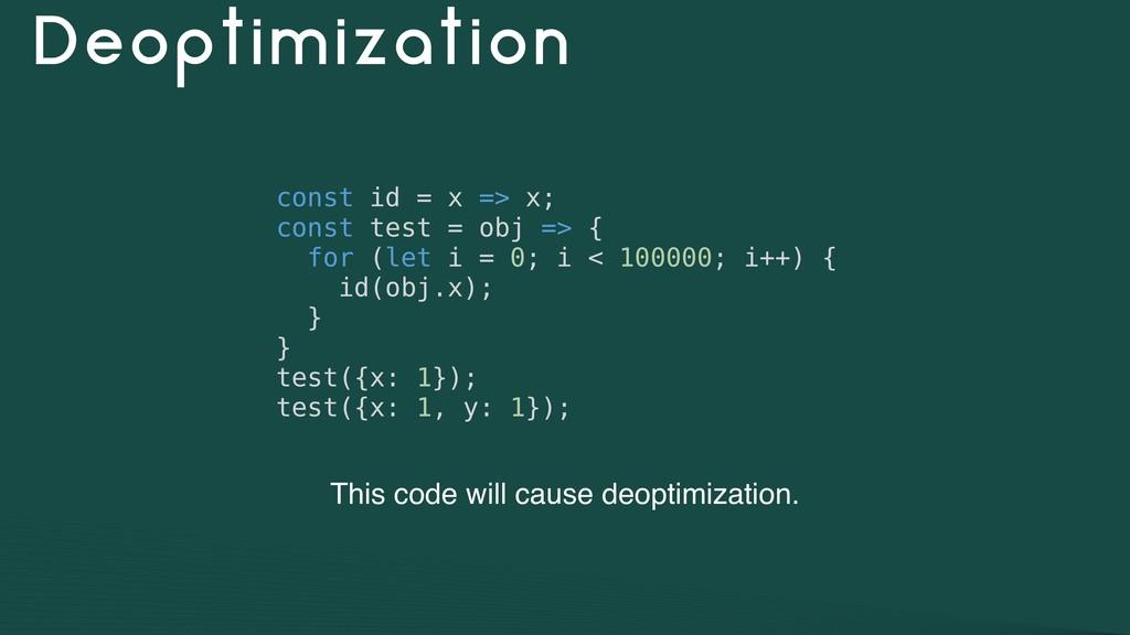 Deoptimization const id = x => x; const test = ...