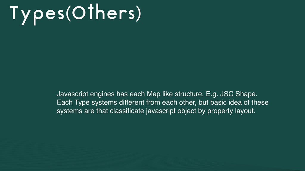 Types(Others) Javascript engines has each Map l...