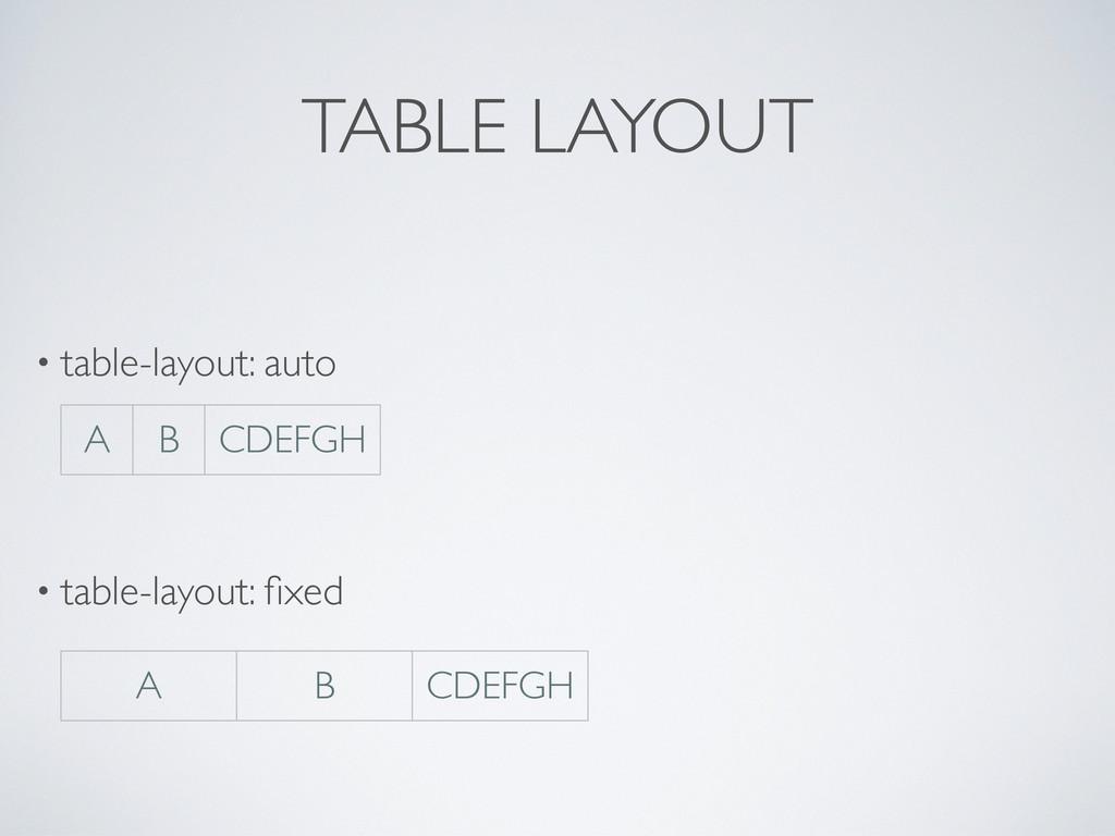 TABLE LAYOUT • table-layout: auto • table-layou...