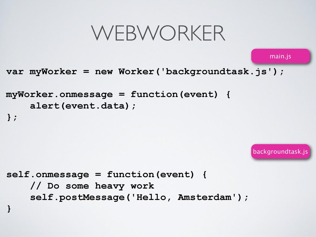 WEBWORKER var myWorker = new Worker('background...