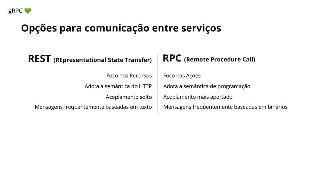 Opções para comunicação entre serviços gRPC  Fo...