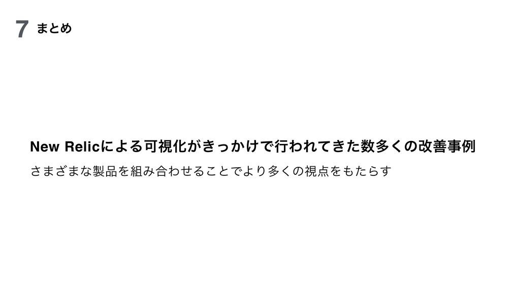 New RelicʹΑΔՄࢹԽ͕͖͔͚ͬͰߦΘΕ͖ͯͨଟ͘ͷվળྫ ͞·͟·ͳΛΈ߹...