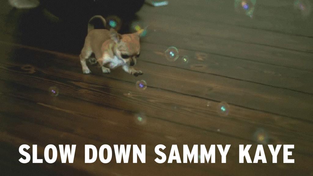 SLOW DOWN SAMMY KAYE