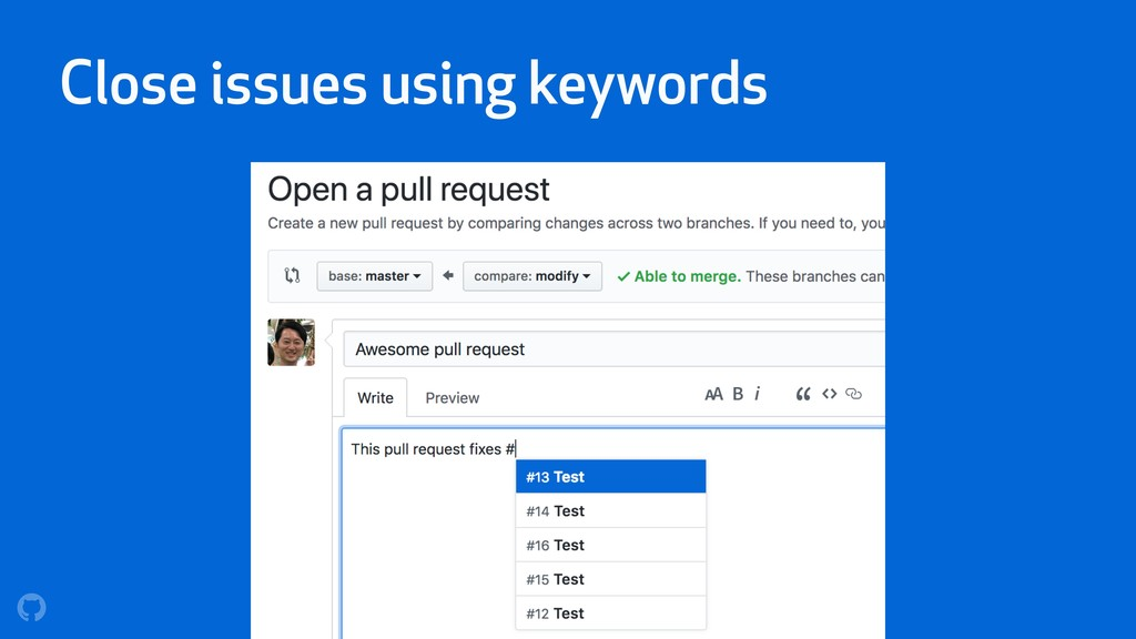 Close issues using keywords