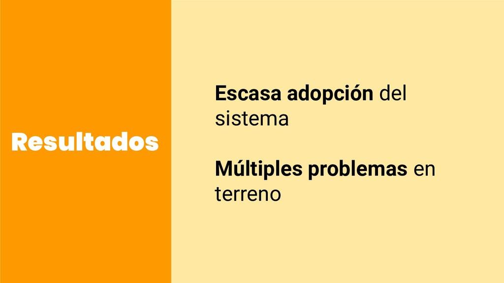 Resultados Escasa adopción del sistema Múltiple...