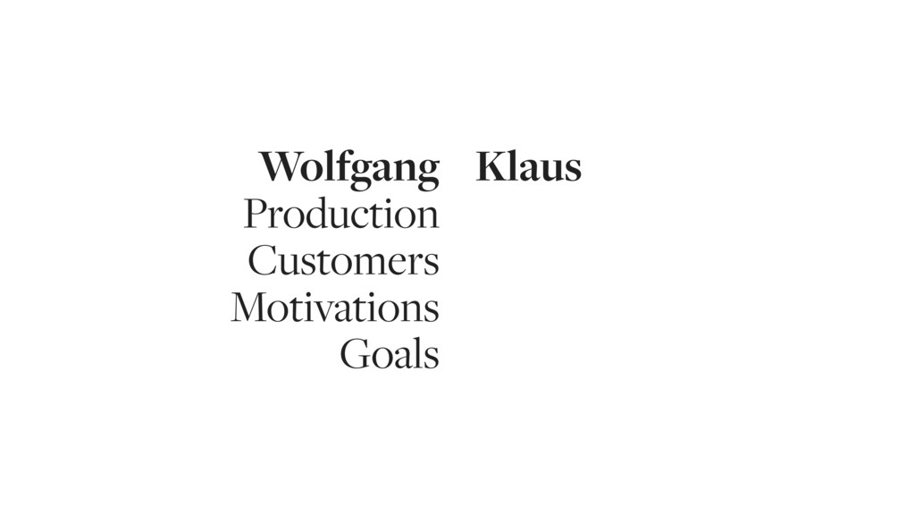 Wolfgang Production Customers Motivations Goals...