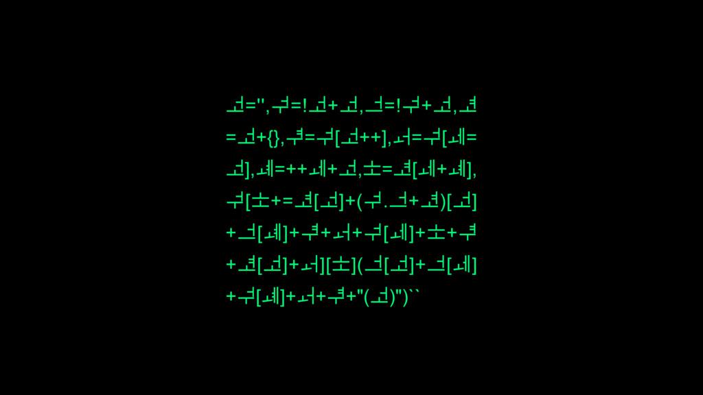 ᅺ='',ᅻ=!ᅺ+ᅺ,ᅼ=!ᅻ+ᅺ,ᅽ =ᅺ+{},ᅾ=ᅻ[ᅺ++],ᅿ=ᅻ[ᆀ= ᅺ],ᆁ...