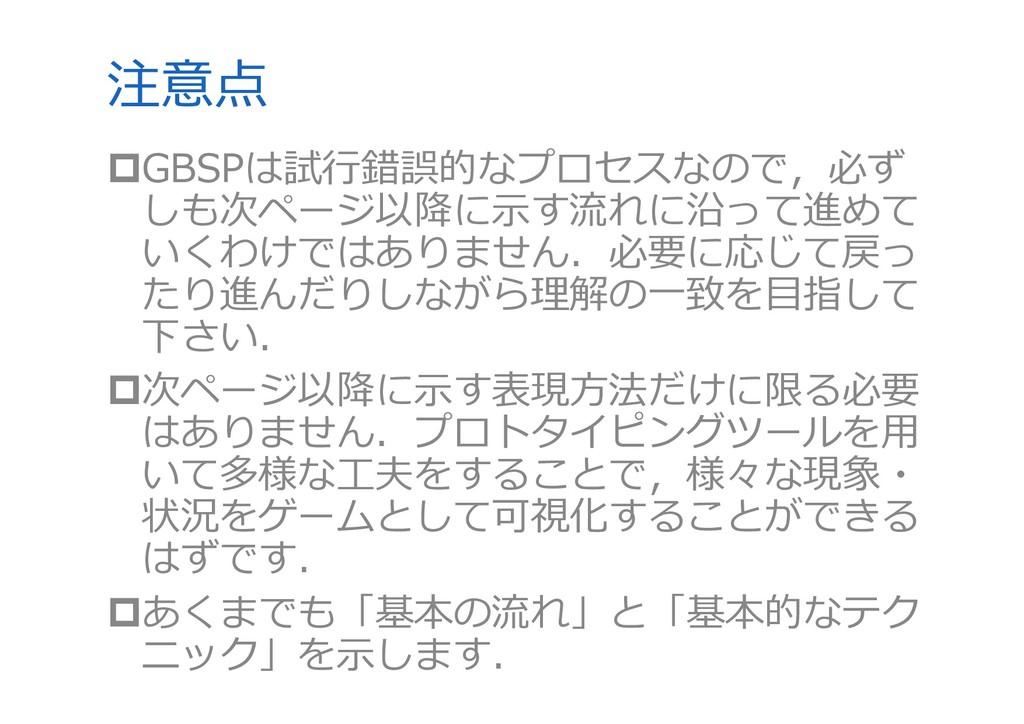 注意点 GBSPは試⾏錯誤的なプロセスなので,必ず しも次ページ以降に⽰す流れに沿って進めて...