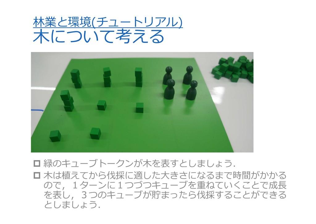 林業と環境(チュートリアル) ⽊について考える  緑のキューブトークンが⽊を表すとしましょう...