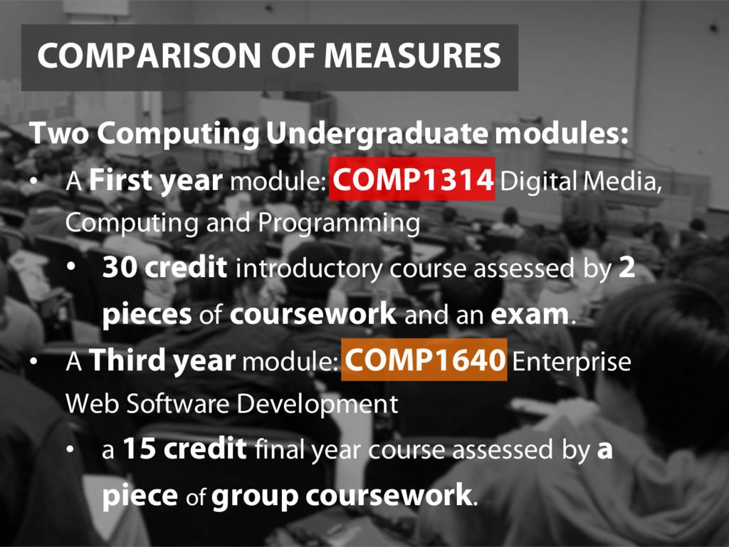 COMPARISON OF MEASURES Two Computing Undergradu...