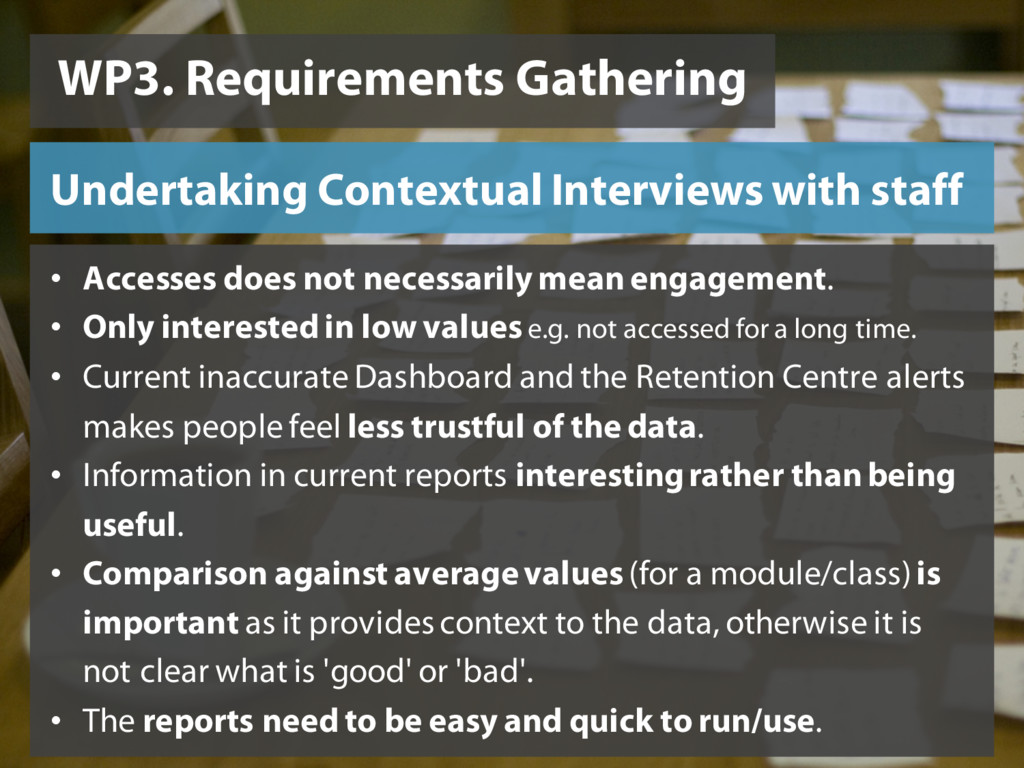 WP3. Requirements Gathering Undertaking Context...