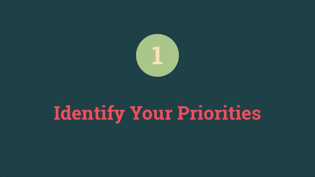 Identify Your Priorities