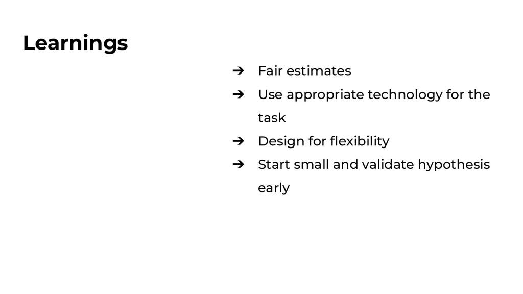 Learnings ➔ Fair estimates ➔ Use appropriate te...