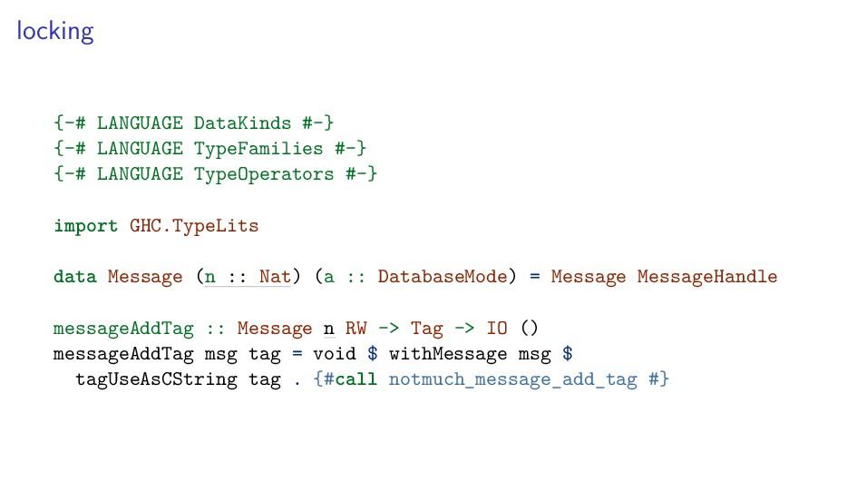 locking {-# LANGUAGE DataKinds #-} {-# LANGUAGE...
