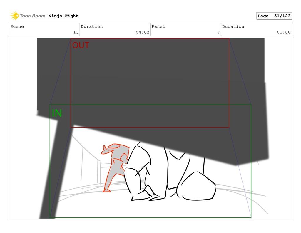Scene 13 Duration 04:02 Panel 7 Duration 01:00 ...