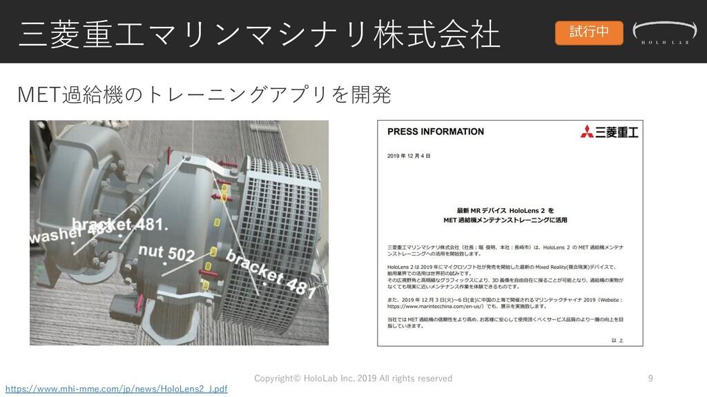 三菱重工マリンマシナリ株式会社 Copyright© HoloLab Inc. 2019 Al...