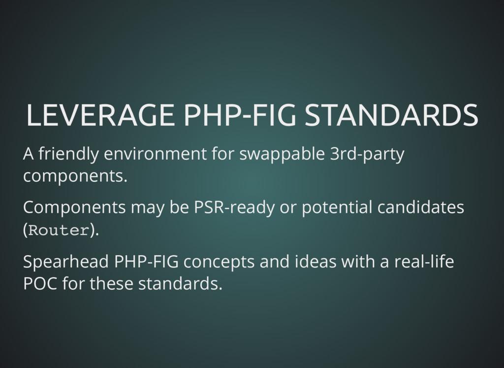 LEVERAGE PHP-FIG STANDARDS LEVERAGE PHP-FIG STA...
