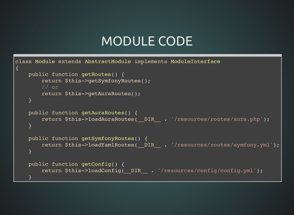 MODULE CODE MODULE CODE class Module extends Ab...