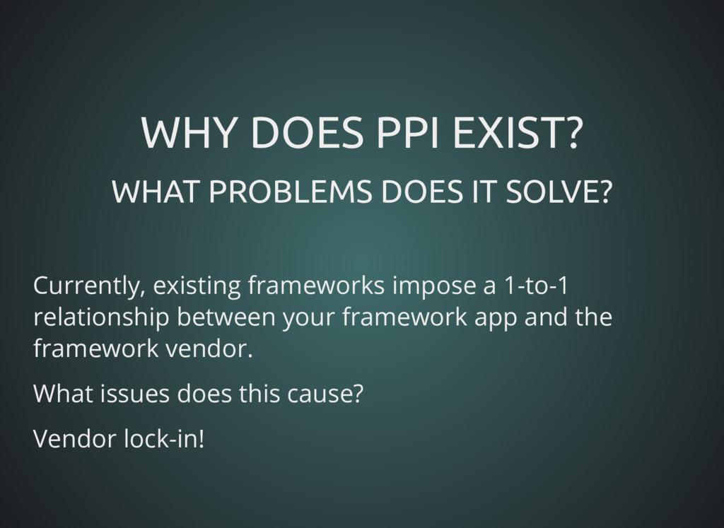 WHY DOES PPI EXIST? WHY DOES PPI EXIST? WHAT PR...