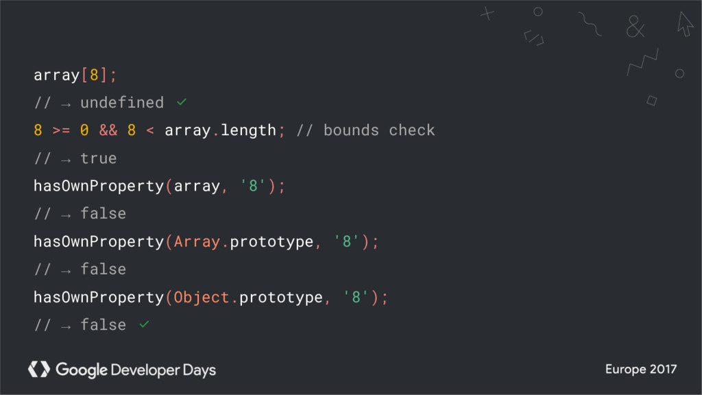 array[8]; // → undefined ✅ 8 >= 0 && 8 < array....