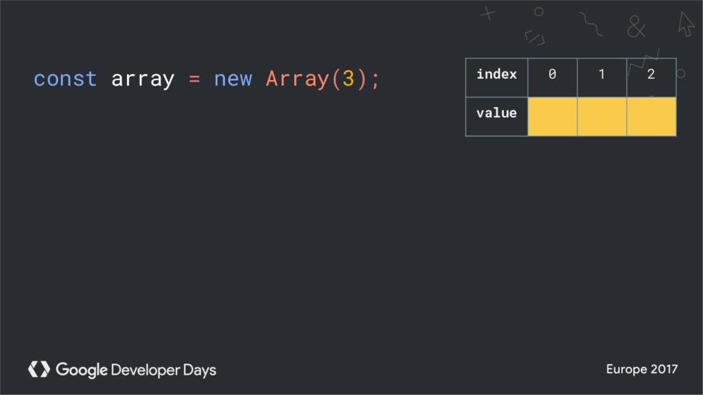 const array = new Array(3); index 0 1 2 value