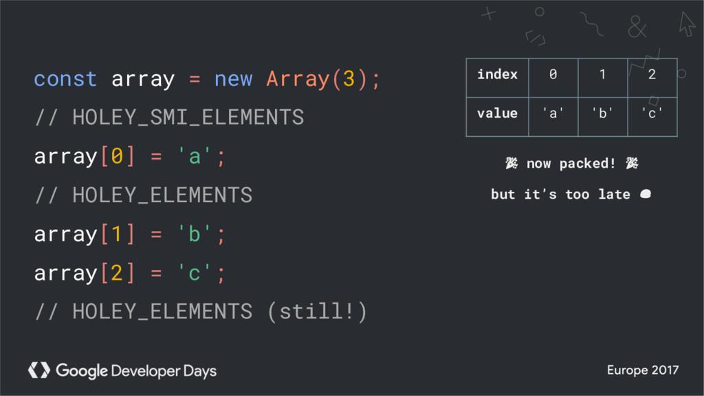 const array = new Array(3); // HOLEY_SMI_ELEMEN...