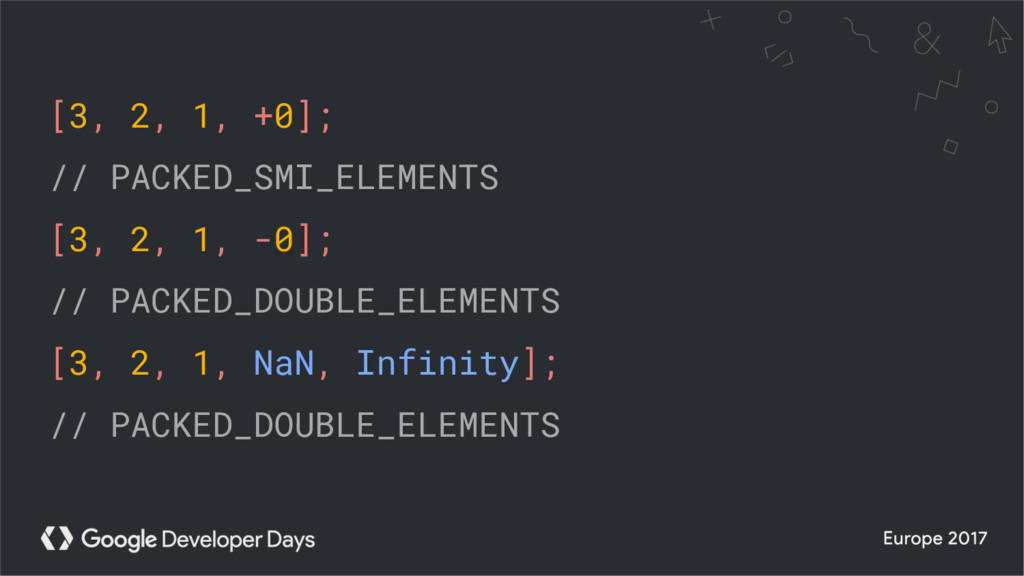 [3, 2, 1, +0]; // PACKED_SMI_ELEMENTS [3, 2, 1,...