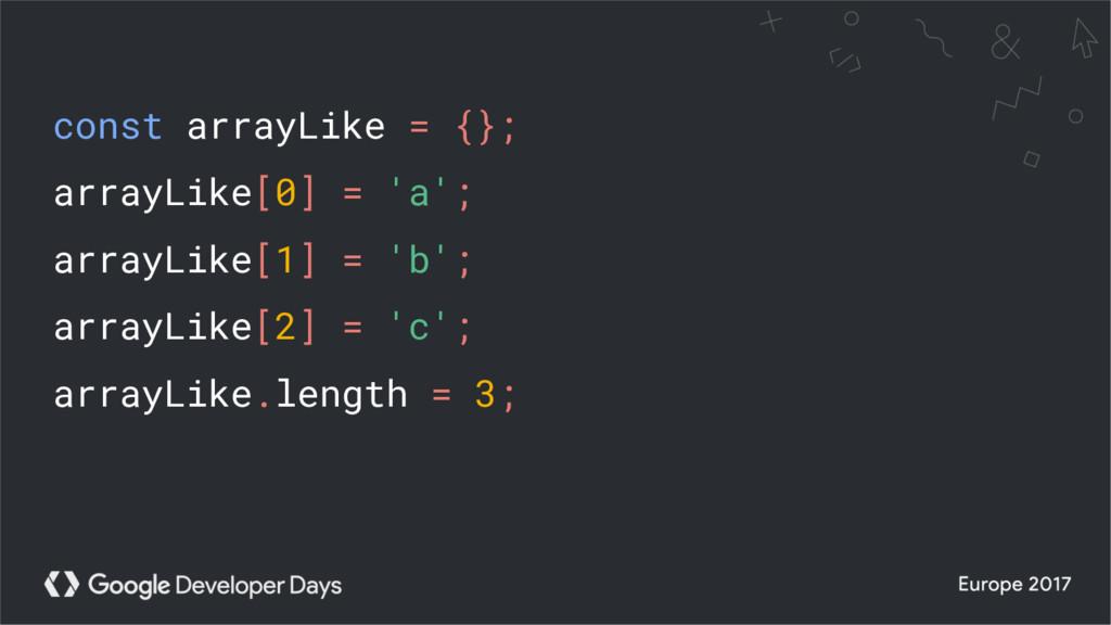 const arrayLike = {}; arrayLike[0] = 'a'; array...