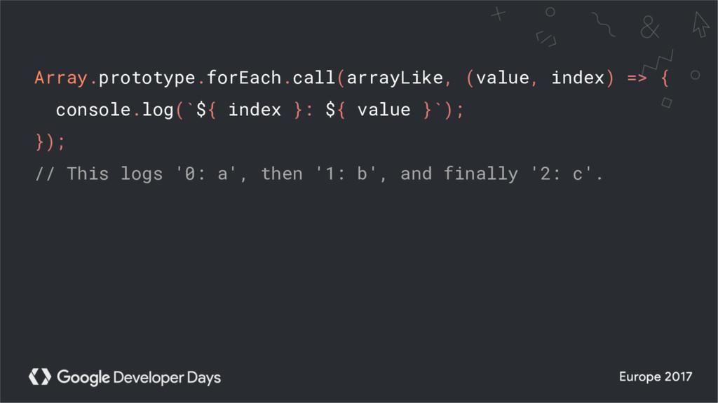 Array.prototype.forEach.call(arrayLike, (value,...