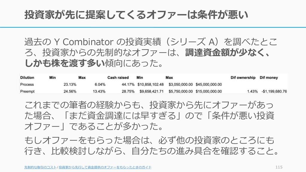 投資家が先に提案してくるオファーは条件が悪い 過去の Y Combinator の投資実績(シ...