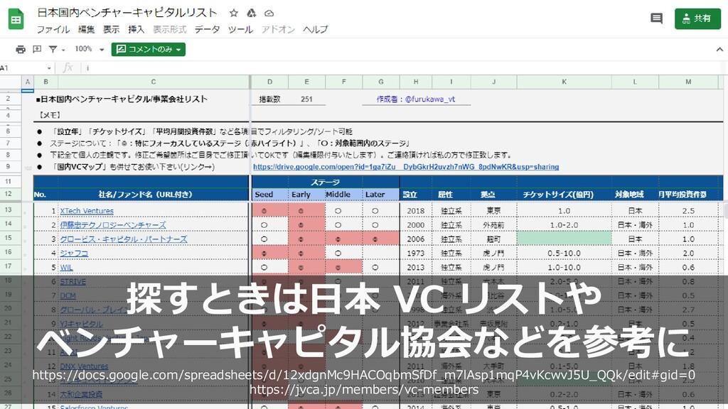 51 探すときは日本 VC リストや ベンチャーキャピタル協会などを参考に https://d...