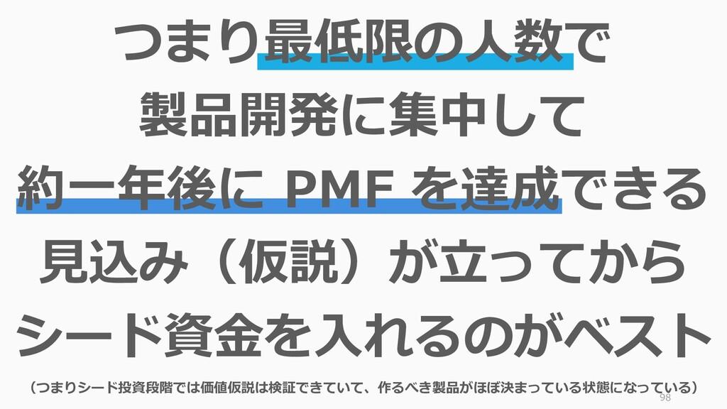 98 つまり最低限の人数で 製品開発に集中して 約一年後に PMF を達成できる 見込み(仮説...