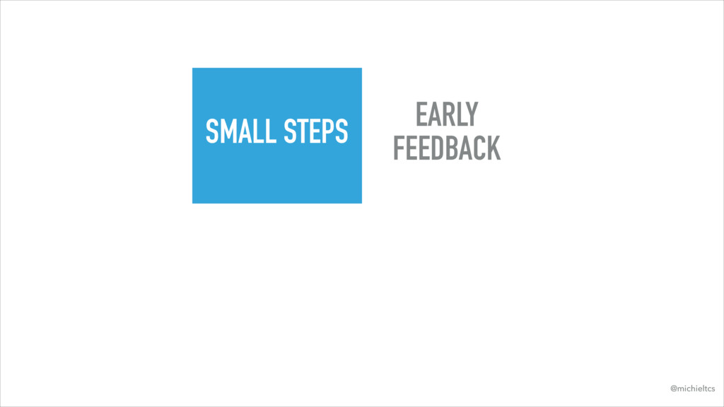 SMALL STEPS EARLY FEEDBACK @michieltcs
