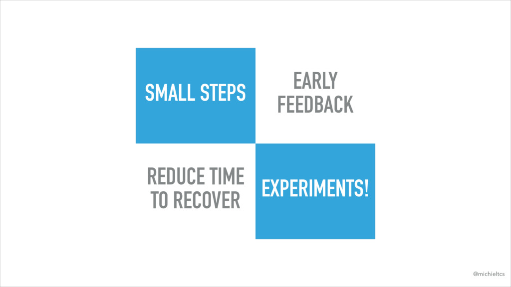 SMALL STEPS EXPERIMENTS! EARLY FEEDBACK REDUCE ...